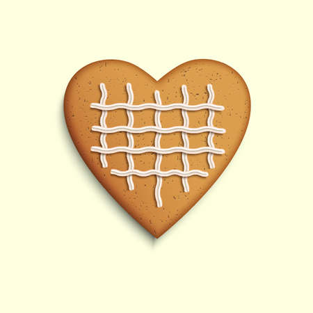 Vector gingerbread heart on white background Vector