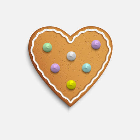 gingerbread cake:  Vector Heart shaped cookie on white background