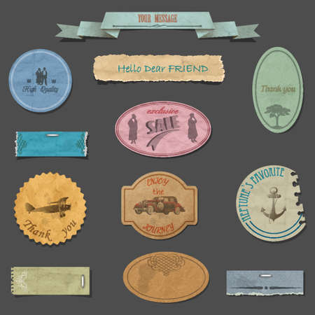 Vector set of paper vintage design elements Stock Vector - 17338516