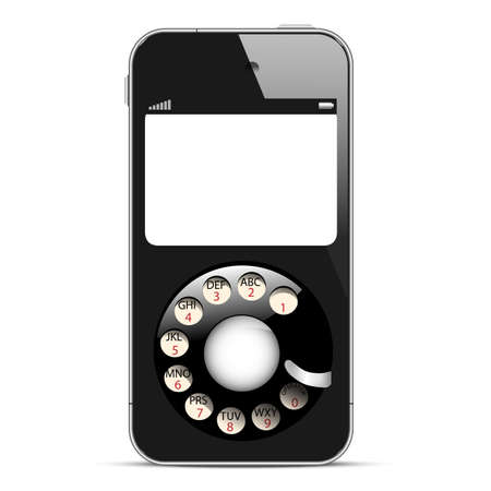 call history: Creative Mobile phone with retro disc dials  Concept vector illustration