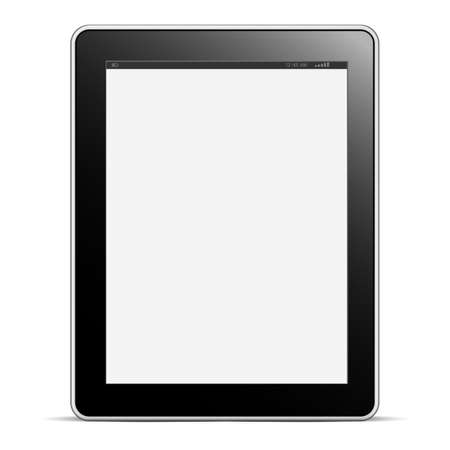 electronic tablet: Digital tablet PC with blank screen isolated on white. Vector EPS10