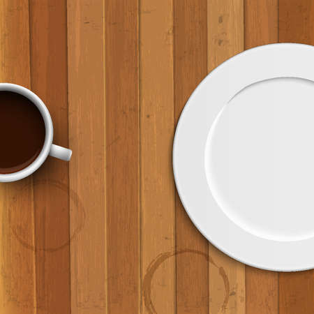 stilllife: Dinner plate and coffee cup on wooden background. Vector illustration