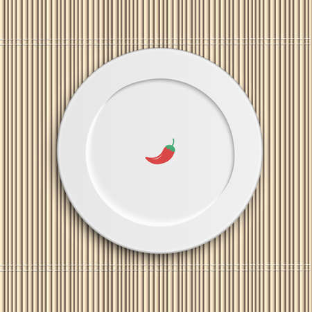 Dinner plate on bamboo napkin. Vector illustration