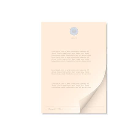 signatory: Document isolated on white. Vector EPS10