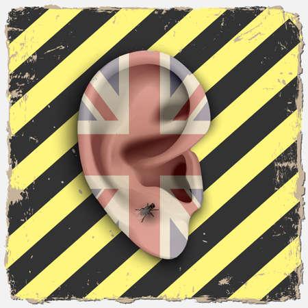 bandera de gran bretaña: Ear. Punk arte vectorial Vectores