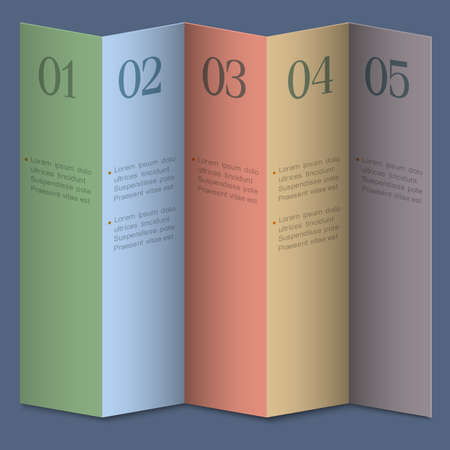 Folded numbered paper banners. Modern Design website Vector