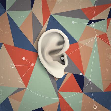 Grunge de fondo futurista con oreja. Ilustración vectorial