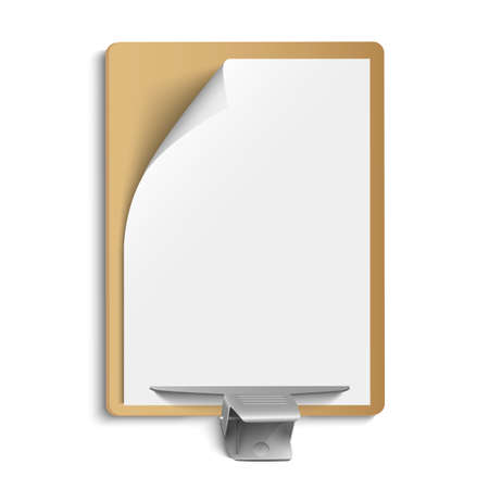 Metallic clamp on blank sheet of paper. Vector eps10  Vector