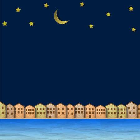 noche y luna: Papel ciudad cerca del r�o en la noche Creativo