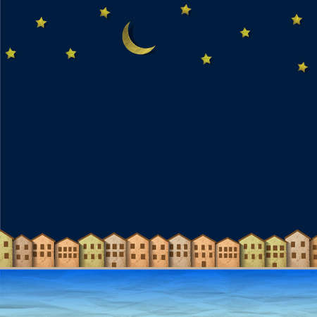 sea scape: Paper town near river at night  Creative Illustration