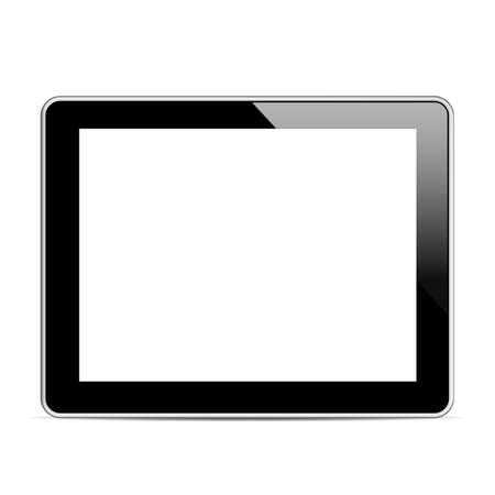 Black tablet computer (tablet pc) on white background.  Vector
