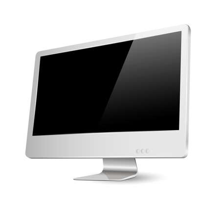 Modern computer monitor with black screen  Vector