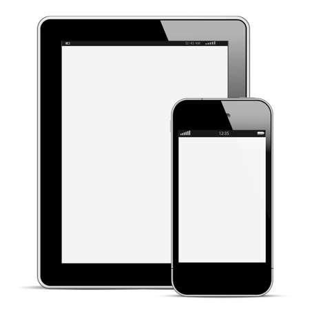 smartphone business: Modern digital tablet PC with mobile smartphone isolated on white