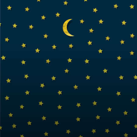 Moon and stars from paper   Vector