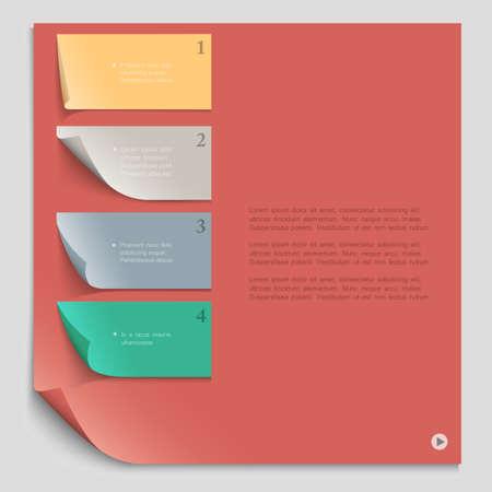 numbered: Modello di progettazione di carta per il layout sito web, numerato bandiere di carta