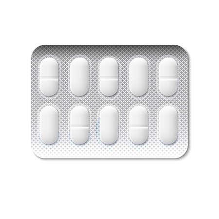 pastillas: P�ldoras en una ilustraci�n blister Vectores
