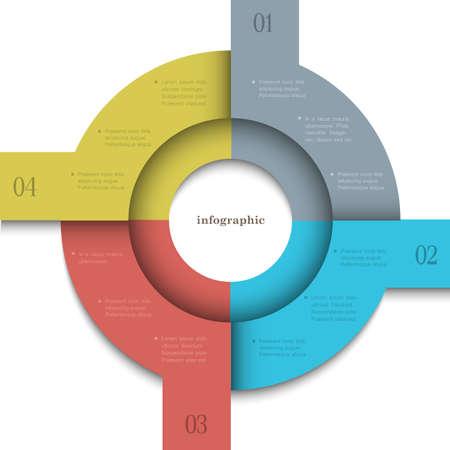 Round trendy design template for infographics and website templates or design graphic for business  Ilustração