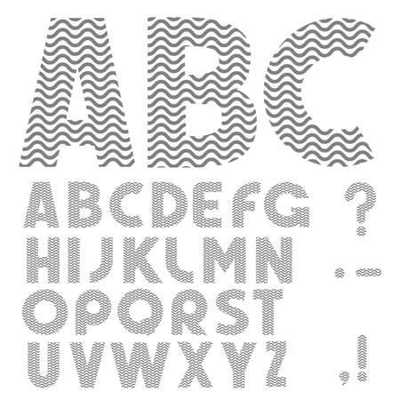 Simple Alphabet with waves pattern Stock Vector - 17911740