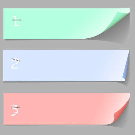 Three horizontal numbered paper banners  Vector