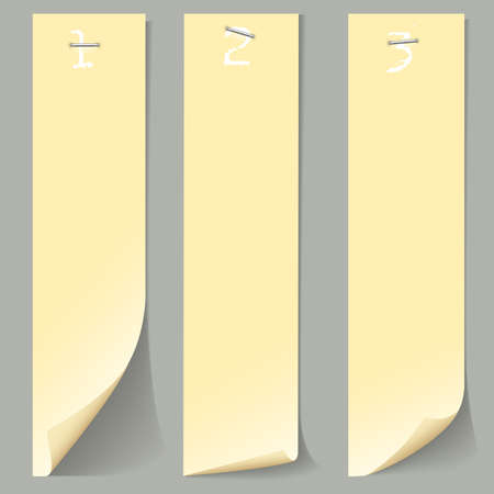 Three vertical numbered paper banners
