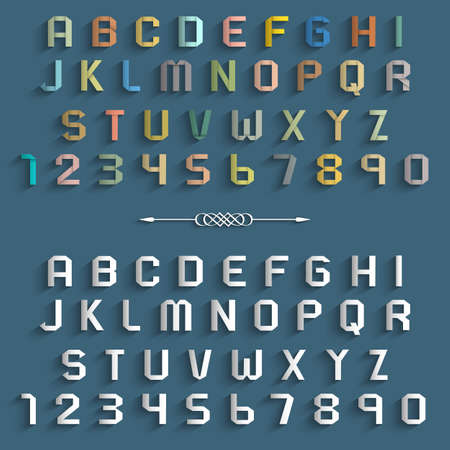 lettre de l alphabet: Deux diff�rentes lettres de l'alphabet et les chiffres. Origami