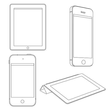 blank tablet: set of Digital devices