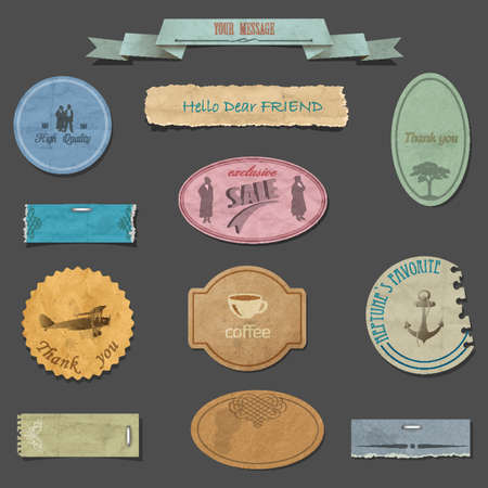 set of paper vintage design elements Stock Vector - 17911965