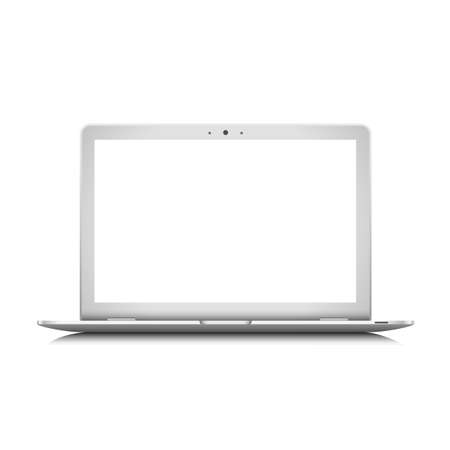 White laptop.  Vector