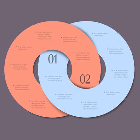 paper cut out: Two circles - trendy design template for infographics and website templates or design graphic for business