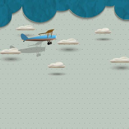 paper airplane: Airplane and clouds from paper. Vector paper-art Illustration