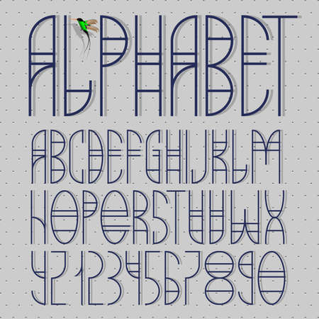 Elegant alphabet letters and numbers. Vector EPS10 Vector