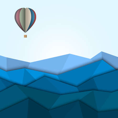 Hot air balloon and mountains from paper  Creative vector eps 10  Ilustração