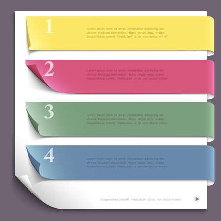 Diseño de la plantilla de papel para el diseño web, numeradas banderas de papel vectorial EPS10