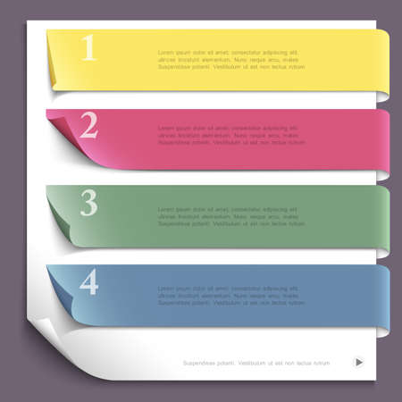 Paper design template for website layout,numbered paper banners  Vector EPS10