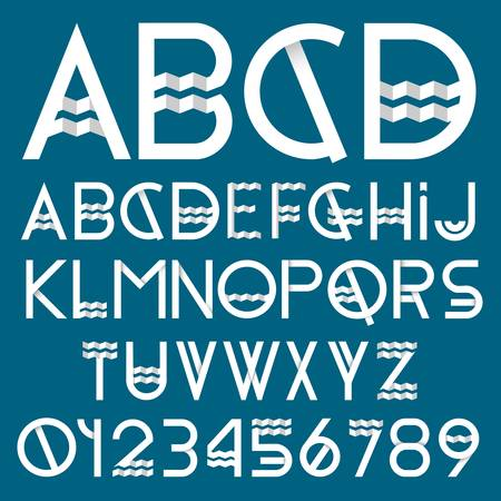 paper spell: Paper font and numbers  Vector set