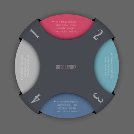 stationery background: Round design template for infographics and website templates or design graphic for business  Vector EPS10
