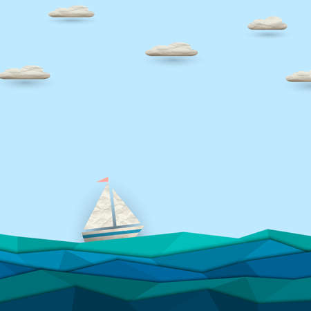 Sailing boat  Vector paper-art