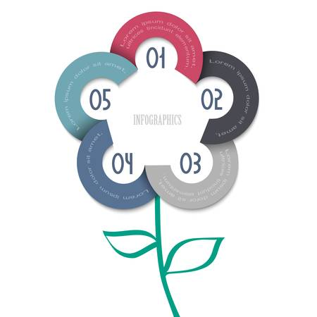 cut flowers: Stylized flower - trendy design for infographics,website templates or design graphic for business  Vector EPS10  Illustration