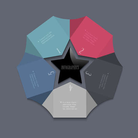 Stylized star-design template for infographics and website templates or design graphic for business  Vector EPS10