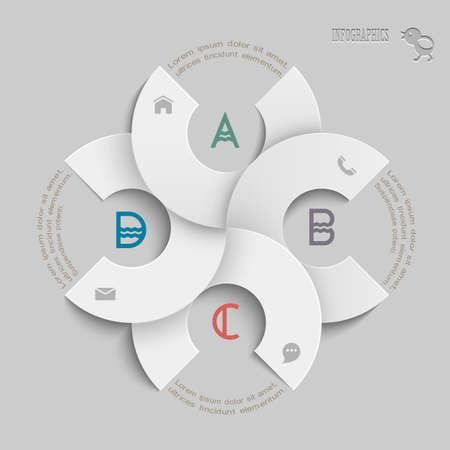folleto: Plantilla blanca dise�o redondo de la infograf�a y plantillas de sitios web o de dise�o gr�fico para las empresas Vector EPS10 Vectores