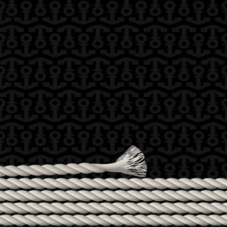 Black background pattern of anchors and marine rope. Vector