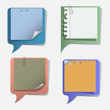 Four torn paper speech bubbles set