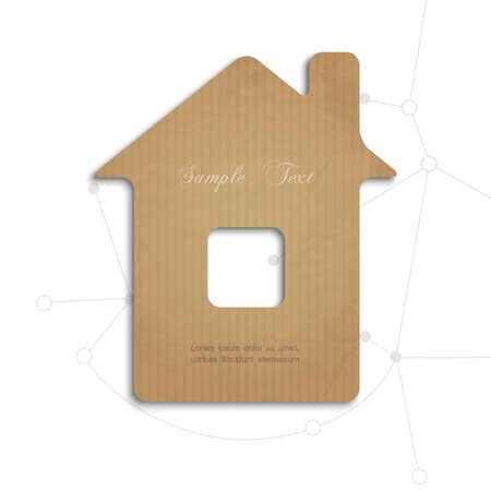 carton: House cortar hacia fuera de ilustración cardboard.Concept