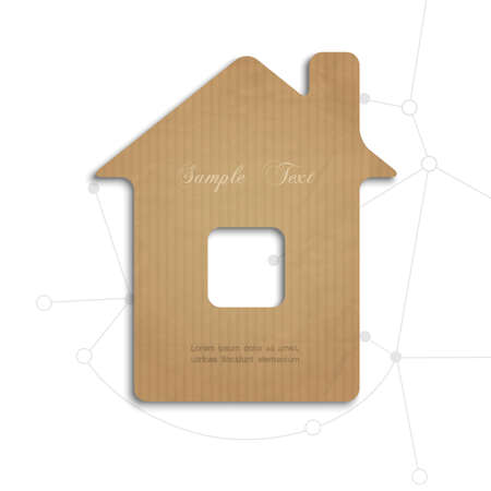 paper recycle: House cut out of cardboard.Concept  illustration