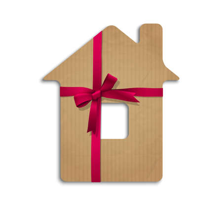House from cardboard with ribbon and bow. Concept  illustration Vector