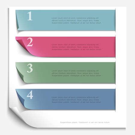 Paper design template for numbered paper banners,website layout   Ilustração