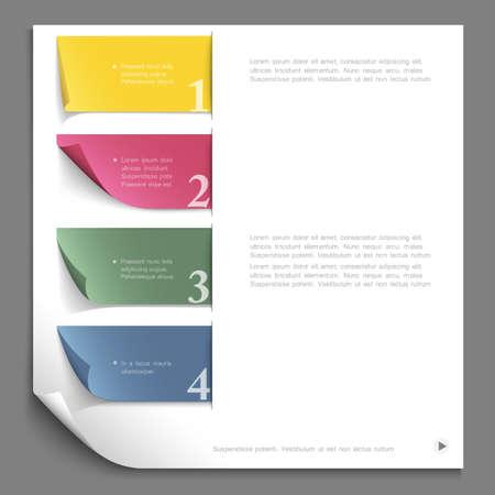 gabarit: Mod�le de conception de papier pour disposition de site Web, banderoles en papier num�rot�es Illustration