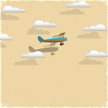 old plane: Retro airplane and clouds from paper paper-art