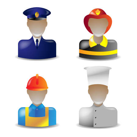 set 1 of glass icons occupations Vector