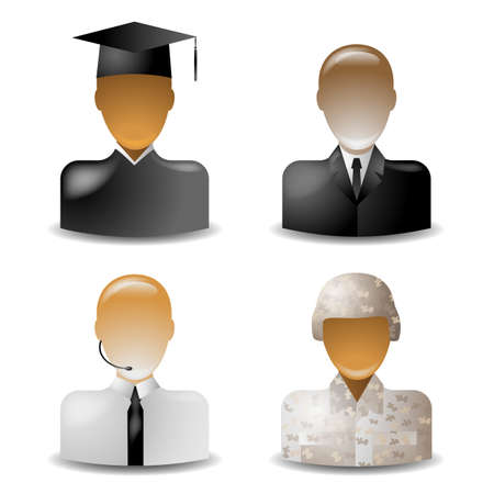 set 2 of glass icons occupations Stock Vector - 18726689